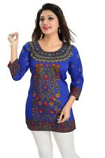 Indian Bollywood Short Black Blue Printed Tunic Tops Blouse Kurtis  Women new