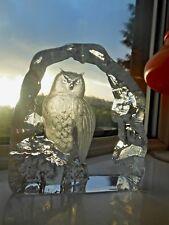 Large Mats Jonasson Crystal Glass OWL Paperweight Sculpture Sweden 33166 signed