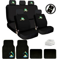 New Semi Custom Frog Logo Car Seat Covers Steering Wheel and Mats Set For VW