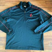 Nike NikeGolf Dri Fit L Lousiville Black and Red 1/4 Zip Long Sleeve Pullover