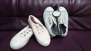 Primark Girls Summer shoes bundle Pumps white blue UK kids size 8 EUR 25/26 new