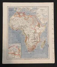 Antique Map Africa Nile Delta Sahara Morocco Algeria Egypt South 1883 Original