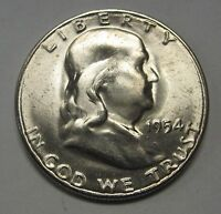 Beautiful CH BU 1954-S Silver Ben Franklin Half Dollar Flashy Coin DUTCH AUCTION