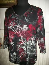 Tee shirt TOP manche 3/4 voile noir fleurs rouge blanc GERRY WEBER 48FR 46D 20UK