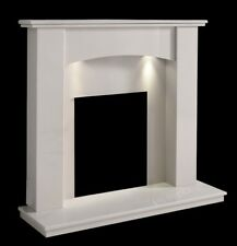WHITE MARBLE STONE CURVED SURROUND GAS ELECTRIC FIRE FIREPLACE SUITE DOWNLIGHTS