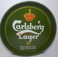 "Carlsberg Beer Pilsner Lager Tray 12"" Metal NOS Collectible Man Cave St Patrick"