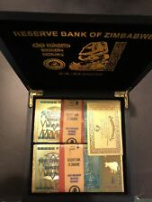 WR 100 Pcs Zimbabwe 100 Trillion Dollar Gold Plated Bills+10 Cert.+Wooden Box