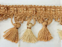 Gold Beige tassel fringe trim 2.5 inch 24 yards bolt excellent quality