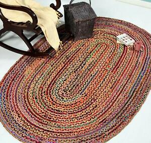 Multi Color Indian Braided Cotton Chindi Hand Woven Oval Rug Carpet 4 x 6 ft