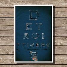 "Detroit Tigers Art Baseball MLB Eyechart Poster Man Cave Decor 12x16"""