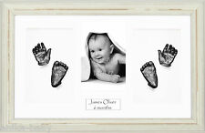 New Large Baby Twin Casting Kit Gift Hand & Feet Cast Shabby Chic Cream 3D Frame