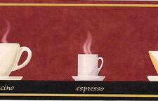 Red Coffee Cups Kitchen Wallpaper Wall Border mocha espresso capuccino latte