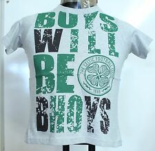 CELTIC 'BOYS WILL BE BHOYS' GREY COTTON TEE SHIRT SIZE BOYS 8-9 YEARS BRAND NEW