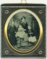1/4 PLATE AMBROTYPE PHOTO OF MOTHER AND THREE CHILDREN