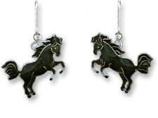 Black Horse Sterling Silver and Enamel Earrings by Zarah