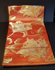 Japanese Vintage Kimono-Fukuro obi-Real Silk-Made in Japan-orange/gold/silver