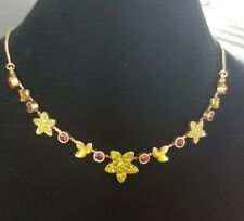 Pilgrim Flower Choker Necklace with Swarovski Crystals Lime Gold Burgundy