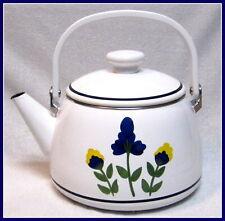 NEW DANSK SAN NICOLO ENAMEL TEA KETTLE POT BLUE YELLOW FLOWERS NEVER USED W TAG