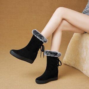 Womens Mid-Calf Boots Hidden Heel Winter Rabbit Fur Round Toe Lace Up Warm Shoes