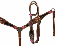 Showman Metallic Splash One Ear Headstall Breastcollar Set Painted Cross Accent!