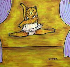 Bear Ballerina art tile coaster gift Jschmetz animals imoressionim