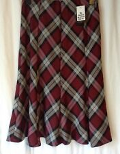 NEW LADIES TARTAN CHECK FLARED ELASTICATED PULL ON LINED SKIRT 4 COLOURS/8 SIZES