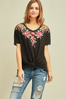 ENTRO Floral Embroidered Short Sleeve Waffle Knit V-neck Top Tunic Black