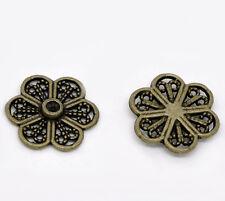 20 Antique Bronze Metal Round FLOWER Flatback Embellishment Findings chb0226