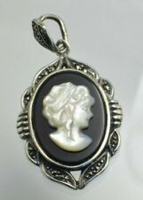 Sterling Silver Marcasite Onyx Mother of Pearl Modern Cameo Pendant 22mm x33mm