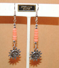 Sterling Silver Sun and Coral Wire Earrings (9601)