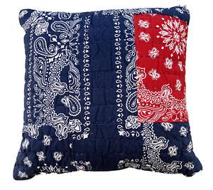 LEVIS Patchwork Bandana Print Throw Pillow Red Blue Handkerchief Paisley New
