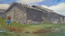 Desconocido pintor-Berg granja-austria? el Tirol? - acuarela para 1900
