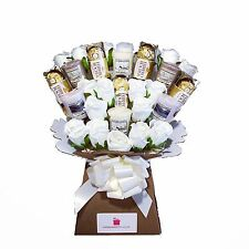 Yankee Candle Bouquet Gift with Silk Ivory Roses & Ferrero Rocher Chocolates