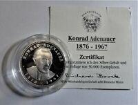 Gedenk-Medaille 1997 Silber - Konrad Adenauer 1876-1967 PL / Proof & Kapsel + Zf