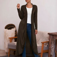 Women Full Length Maxi Cardigan Slouchy Open Front Sweater Coat Outwear Tops NEW