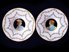 VINTAGE Decoration Wall DERUTA Pottery SIGNED by ARTIST 2 PLATES LOT