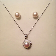 Genuine 8-9mm Cultured Freshwater Pearl Necklace and Earring Set S925 Silver