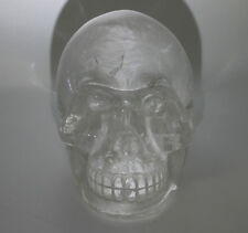 Hand Carved Crystal Skull Natural Quartz Detailed 2.9 lbs Rainbow Colors