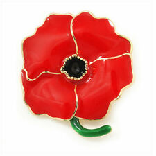 Retro Enamel Red Poppy Flower Brooch Pin Broach Jewelry Remembrance Gifts Women