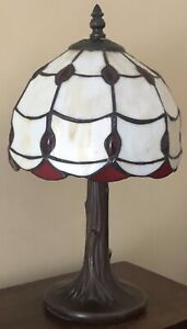 Vintage Tiffany Style Red & Off White Glass Table Lamp