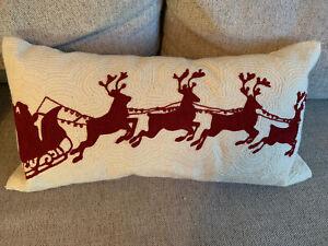 """Pottery Barn Christmas Sleigh Bell Crewel Embroidered 12 x 24"""" Lumbar Pillow"""