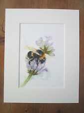 """bee and lavender , print of original painting, in 10"""" x 8"""" Mount"""