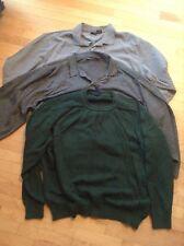 Lot of 3 MEN'S long sleeve SHIRTS & SWEATERS 3XL (XXXL) GEORGE Gray Green Black