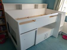 Stompa Parisot Mid Sleeper Bed And desk set in White