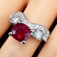 BLOOD RED! 3.59TWC Ruby Diamond 18K solid white gold ring Natural heat princess