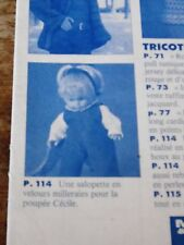 """T8 PATRON POUPEE"""" MODES ET TRAVAUX""""""""SALOPETTE EN VELOURS   POUPEE CECILE 11/92"""