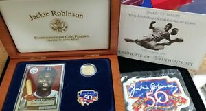 Jackie Robinson 50th Anniversary Commemorative $5 Gold Coin  With OMP & COA