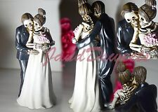 Love Never Dies Wedding Skeleton Cake Topper-Bride-Groom-Halloween Figurine Deco