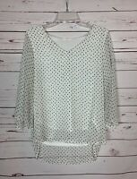 LE LIS Stitch Fix Women's M Medium White 3/4 Sleeves Cute Fall Top Blouse Shirt