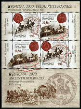 More details for romania postal services stamps 2020 mnh ancient postal routes europa 4v m/s b